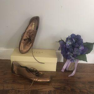 Anthropologie Candela Flat Leather Metallic Shoe